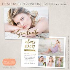Graduation Announcement Template Senior Grad Card for Photographers PSD Flat card - CG052 - Instant Download