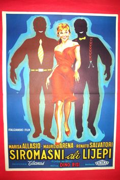 POOR BUT PRETTY 1957 SEXY MARISA ALLASIO RENATO SALVATORE RARE EXYU MOVIE POSTER