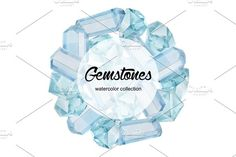 Watercolor gemstones collection by Curly family on @creativemarket