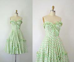 1950s Rose Print Dress / 50s Strapless Sundress by FemaleHysteria