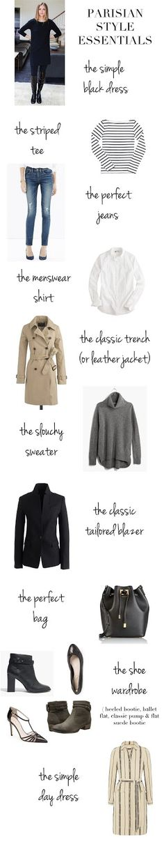 Style Essentials - Classic key pieces all women should have in their wardrobes.Parisian Style Essentials - Classic key pieces all women should have in their wardrobes. French Fashion, Look Fashion, Paris Fashion, Winter Fashion, Womens Fashion, Cheap Fashion, Fashion Check, Classic Fashion, Fashion Goth