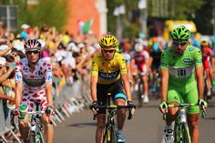 GIVORS, FRANCE - JULY 14: (L-R) King of the Mountain classification leader Pierre Rolland of France and team Europcar, general classification leader Chris Froome of Great Britain and Team Sky Procycling and points classification leader Peter Sagan of Slovakia and Cannondale prepares to ride stage fifteen of the 2013 Tour de France, a 242.5KM road stage from Givors to Mont Ventoux, on July 14, 2013 in Givors, France. (Photo by Bryn Lennon/Getty Images)