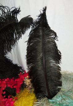 Vintage Ostrich Feather Hat Millinery Plume Trim BLACK by Avaricia