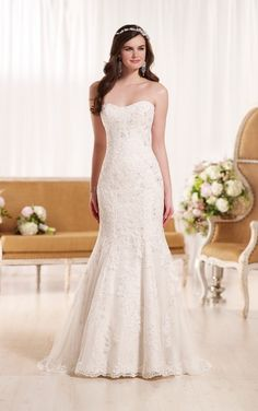 D1928 Strapless Lace Wedding Dress by Essense of Australia
