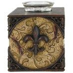 Two-Tone Brown Fleur-de-Lis Tea Light Holder