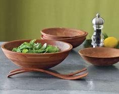 5 Large Wooden Salad Bowls     cherry wood salad bowl. wm-sonoma