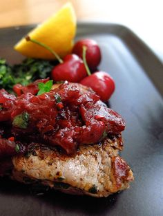 Beef Tenderloin Filet with Cherry Balsamic Chutney using Laura's Lean Beef so high in protein and low in fat! #client