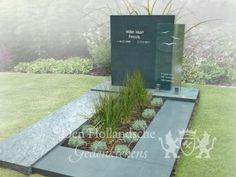 Eigentijds grafmonument van groen natuursteen