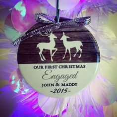 Wood Engagement Ornament | Personalized Holiday Ornament | Personalized Gift | Customer Photo | peachwik.com