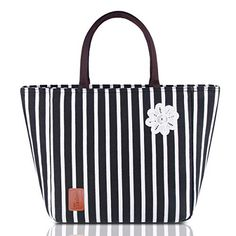 Lunch Bag for Women Insulated Tote Large Capacity with Durable Waterproof Material Leakproof Liner and Adjustable Shoulder Strap, Blue Reusable Lunch Bags, Insulated Lunch Tote, Lunch Tote Bag, Toddler Fashion, Kids Fashion, Lunch Boxes For Women, White Strips, Bag Organization, Baby Care