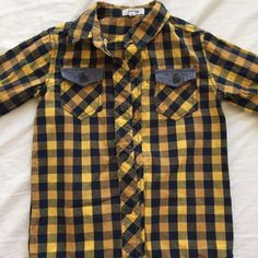 Check this item I am selling on Totspot, the resale shopping app for families.   Yellow Plaid Button Down  Love this! #kidsfashion #familyfashion