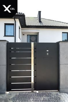 Home Gate Design, House Main Gates Design, Steel Gate Design, Door Design, House Design, Main Entrance Door, Modern Entrance, House Entrance, Front Gates