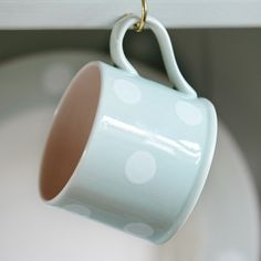 Blue / White Spot Straight Mug perfect for Father's day