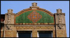 Roofline: Monticello Ballroom Building, East Jefferson Avenue--Detroit MI The tiles in the roofline insert of this building are believed to be from the nearby Pewabic Pottery. The building was designed by the firm of Pollmar and Ropes in Detroit Ruins, Pewabic Pottery, Antique Tiles, Public Art, Abandoned Places, Empire State Building, Taj Mahal, Michigan, Architecture