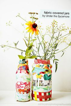 fabric covered jars- Under the Sycamore.  I <3 Ashley's blog and don't miss a single post!  These are adorable!