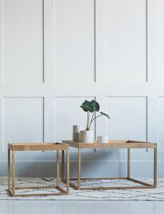 Small - D: 50cm x H: 45cm Larger: D: 80cm x H: 45cm Oak wood, veneer oak wood.