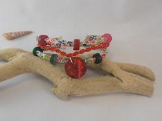 bracelet triple macramé et liberty : Bracelet par les-creations-du-sud