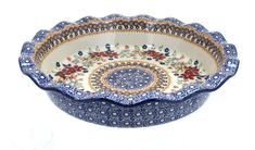 Red Daisy Pie Plate - Blue Rose Polish Pottery