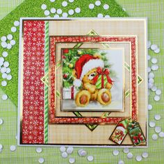 Card created using Hunkydory Crafts' The Teddy Bear's Christmas Topper Set from the A Cuddly Christmas Topper Collection
