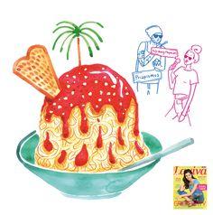 Spaghettie Ice Gelato. Editorial illustration.