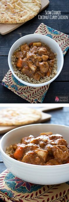 Slow Cooker Coconut Curry Chicken Recipe with chicken thighs, carrots, and potatoes!