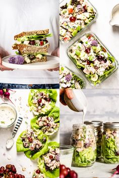 Healthy Greek Yogurt Chicken salad with shredded chicken apples grapes and avocados served in 4 different ways: Sandwich meal-prep in a jar and as a lettuce wrap. Low Calorie Chicken Salad, Healthy Chicken Dinner, Chicken Salad Recipes, Healthy Salad Recipes, Healthy Eats, Greek Yogurt Chicken Salad, Chicken Salad With Apples, Greek Yogurt Recipes, Yogurt Salad Dressings