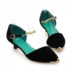Cheap Wholesale New Arrival Metal Chain and Pointed Toe Design Flat Shoes For Women (BLACK,39) At Price 17.64 - DressLily.com