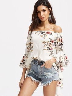 c44a4d7cb06669 SheIn Chiffon Women Tops Beach Top Women Summer 2017 Korean Style White  Florals Off The Shoulder Flare Sleeve Top