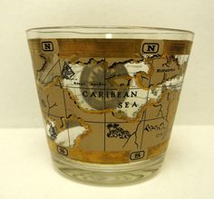 Cera glass co maps double fashioned glasses old world maps vintage mid century modern small glass ice bucket with gold accents and maps mcm mancave vintage gumiabroncs Image collections