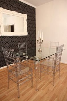 Clear perspex dining table. Designed with removable legs for ease ...