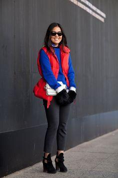 Jenny Kang is ski-chic at fashion week.    #streetstyle #newyorkfashionweek #fashion #fashionweek #style #harpersbazaar #mrnewton