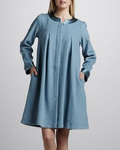 Michelle Short Swing Robe, Blue - Neiman Marcus