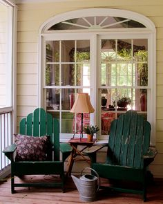 Adirondack chairs are a classic piece of porch and patio furniture. These homeowners followed one of our front porch guidelines: bring indoor furniture outside, as they did with their lamp. Don't be afraid, pinners, get creative and try that lamp, shelf or side table in your living room out on your porch. You will be amazed! Check out our blog post for more Front Porch Living advice!