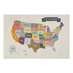 Shop Illustrated Map of America 24 x Wall Poster created by mrprintables. Personalize it with photos & text or purchase as is! Art And Illustration, Map Globe, Custom Posters, Poster Wall, Custom Framing, Print Design, Wall Art, Drawings, Creative