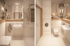 Aranżacja łazienki wystrój nowoczesny w kolorach biel, brąz, beż - projekt wnętrza #9395430, Homplex Office Bathroom, Tiny House Bathroom, Small Bathroom, Bathroom Ideas, Bathrooms, Home Office, Toilet, Sweet Home, Bathtub