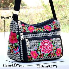 Canvas National Style Flower Pattern Crossbody Bag Shoulder Bags For Women