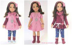 Puppenkleidung - 8 teilg. Set HANNAH - rosa-beere - Frühling `16 - ein Designerstück von MABE-la-Creativ-Kids bei DaWanda