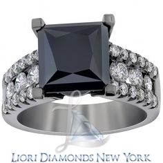 5.20 Carat Princess Cut Natural Black Diamond Engagement Ring 14K Black Gold - Color Rings - Lioridiamonds.com