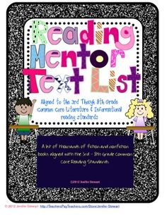 This is a list of over 2000 fiction and nonfiction picture and chapter books compiled to match the Common Core Reading standards for third through eighth grades. $