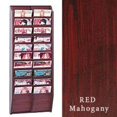 10-tiered Wood Magazine Rack For Wall, 20 Pockets Fit 8.5x11 Catalogs - Red…