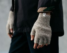 "Grey fingerless gloves | Knitted wool | Hands | bridgeandburn: "" Bridge & Burn """