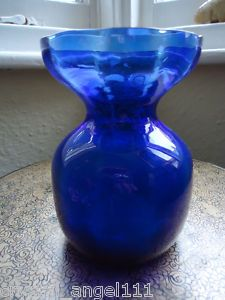 ANTIQUE VICTORIAN GLASS HYACINTH BULB VASE BRISTOL BLUE