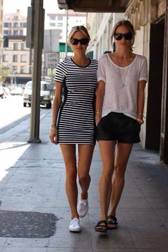 LOVE the striped dress and tennies