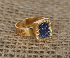 Small Raw Amethyst Druzy Agate Stone Ring with Gold Plated Edge and Adjustable Band
