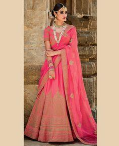 Light Pink Silk Bridal Lehenga Choli 79066