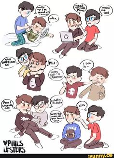 phan, danisnotonfire, amazingphil, cute, phanart   I don't even ship it too much, but this is too cute