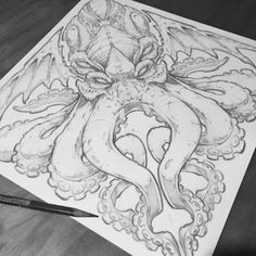 Cthulhu based of an illustration i did a few years ago. Cthulhu Tattoo, Cthulhu Art, Lovecraft Cthulhu, Kracken Tattoo, Hp Lovecraft, Tattoo Sketches, Drawing Sketches, Tattoo Drawings, Octopus Drawing
