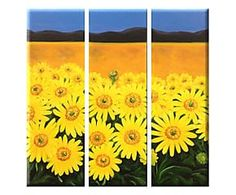 Composizione di 3 tele dipinte a mano Campo di girasoli - 20x60 cm