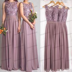 Purple Bridesmaid Dresses 2015 Jewel Neck Long Plus Size Lace Vintage Bridesmaid Dresses With Flowing Chiffon Skirt Prom Evening Dresses, $126.71 | DHgate.com