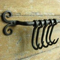 Blacksmith forged Iron Hook Rack